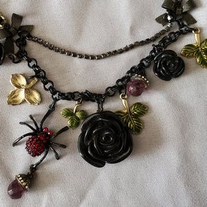 Betsey Johnson Rose/Spider Gothic Necklace RARE